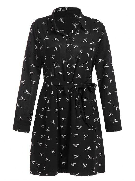 فستان الحجم الكبي مربوط - أسود 4XL