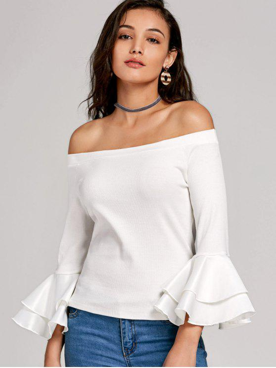 best Flare Sleeve Panel Knit Top - WHITE L