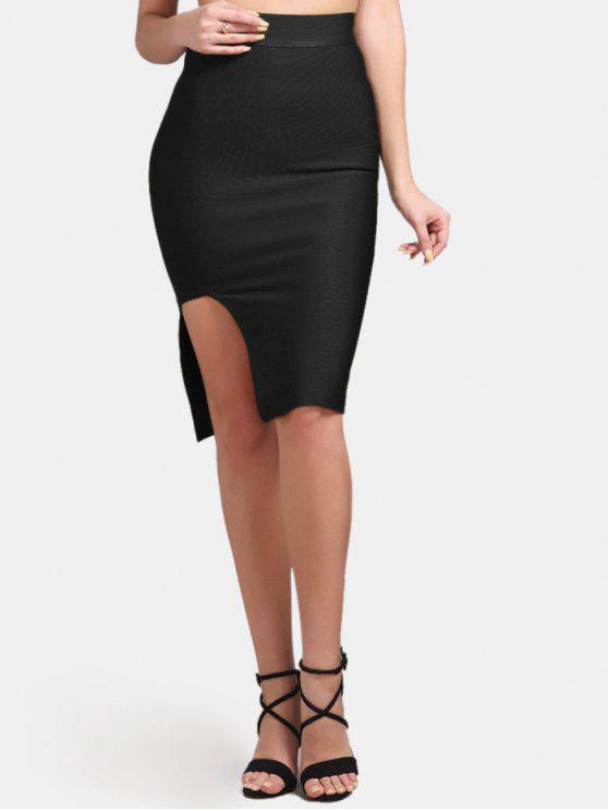 affordable High Waist Slit Bodycon Skirt - BLACK M