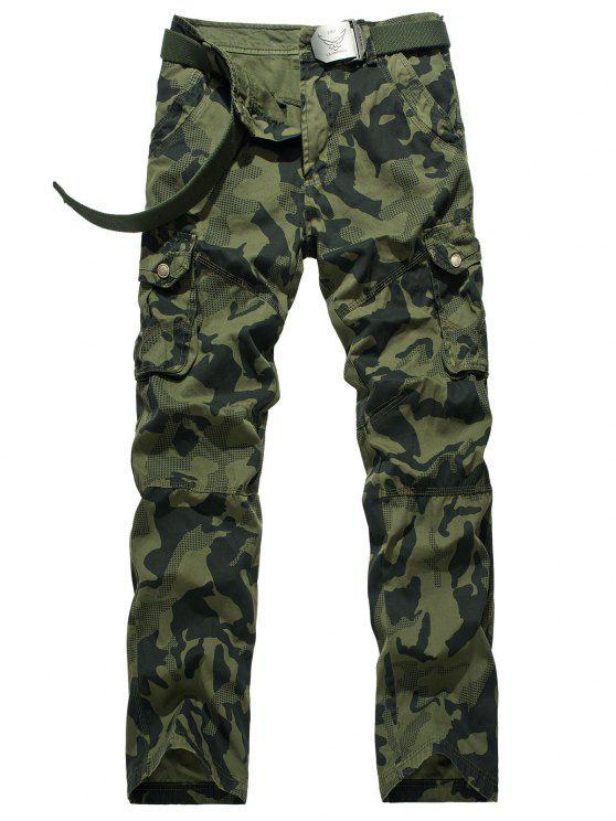 Zipper Fly Camouflage Swallow Gird Cargo Pants - Verde 32