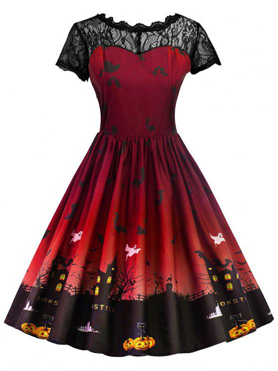 فستان كلاسيكي دانتيل هالوين - أحمر غامق XL