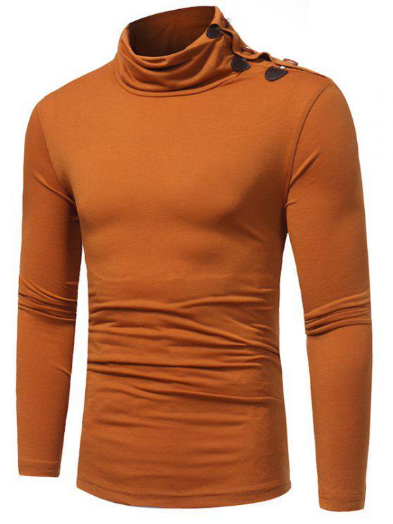 women Piles Collar Horn Button T-shirt - CAMEL 3XL