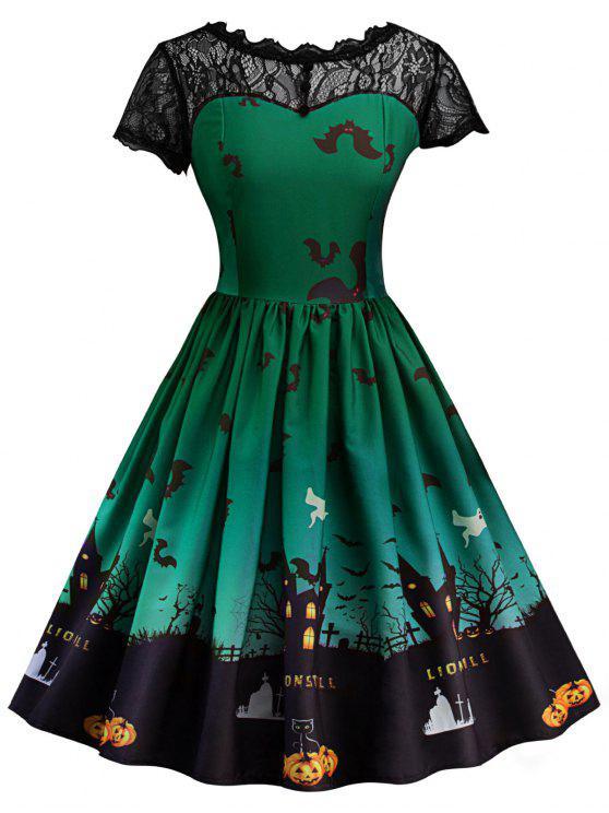 فستان كلاسيكي دانتيل هالوين - أخضر M