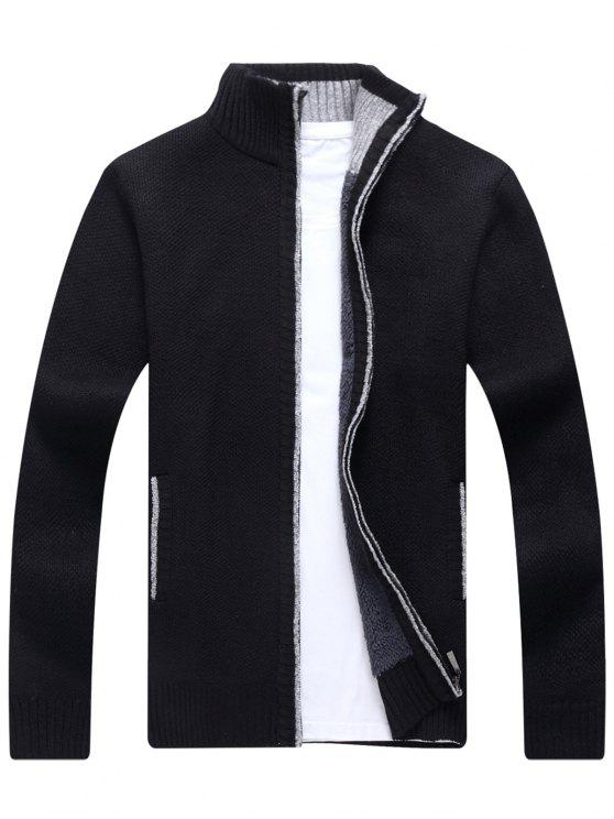 lady Knitted Zip Up Cardigan - BLACK XL