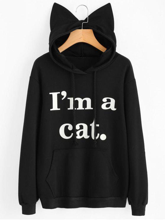 shop Front Pocket Letter Graphic Cat Hoodie - BLACK M