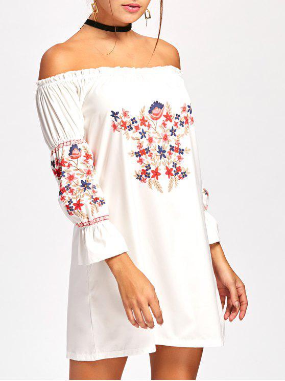 Schulterfreies Kleid mit Flare Hülse und Rüsche - Weiß S