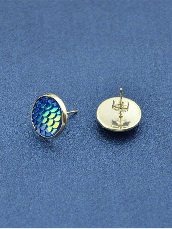 جولة حورية البحر موازين أقراط صغيرة - أزرق