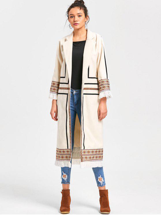 lady Tribal Print Longline Fringe Coat - OFF-WHITE L