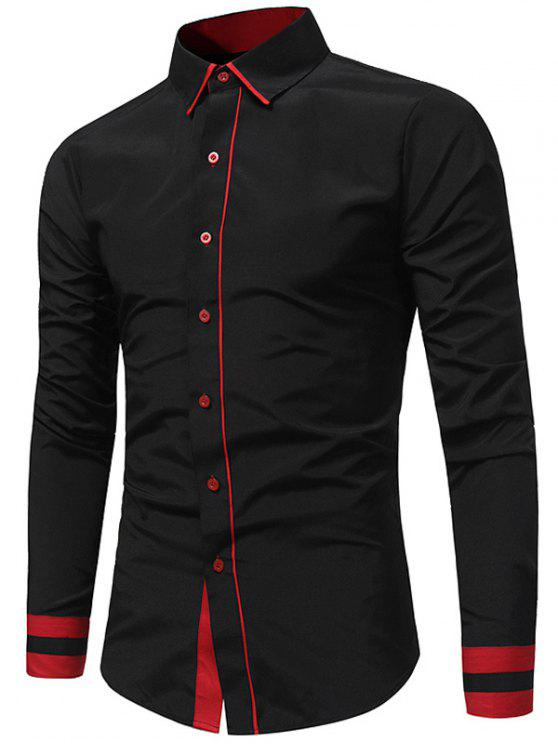 trendy Color Block Panel Slim Fit Shirt - BLACK 2XL