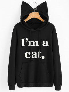 Front Pocket Letter Graphic Cat Hoodie - Black S