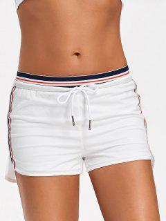 Striped Double Layered Sporty Shorts - White M