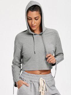 Cropped Lace Up Sleeve Sporty Hoodie - Gray S