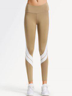 Two Tone Active Yoga Leggings - Light Khaki Xl