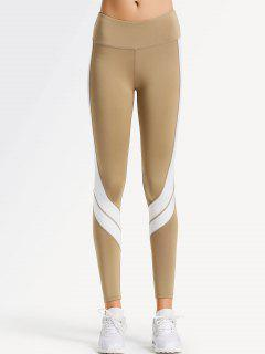 Two Tone Active Yoga Leggings - Light Khaki S