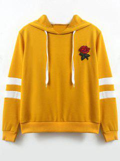Flower Patched Striped Hoodie - Ginger L
