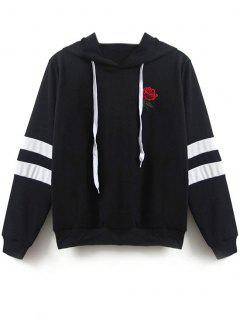 Flower Patched Striped Hoodie - Black Xl