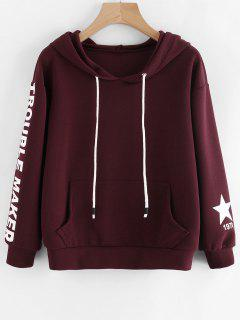 Letter Graphic Drop Shoulder Drawstring Hoodie - Wine Red S