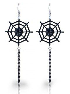 Spider Web Halloween Longline Fish Hook Earrings - Black