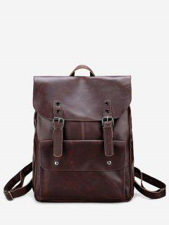 Buckle Straps Stud Faux Leather Backpack - Brown