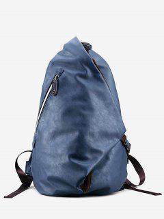 Faux Leather Zipper Backpack - Blue