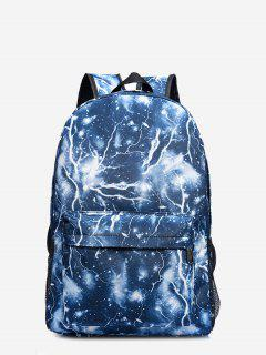 Padded Strap Lightning Print Backpack - Blue