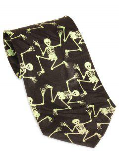 Halloween Skeleton Pattern 10CM Width Neck Tie - Yellow And Black