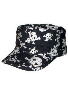Shimmer Skull Printed Flat Top Military Hat - Silver