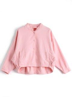 Boutons Avant Stand Neck Denim Jacket - Rose PÂle S