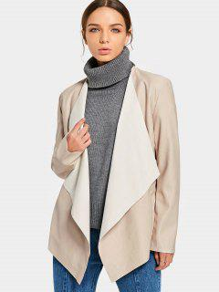 Open Front Faux Leather Jacket - Apricot M