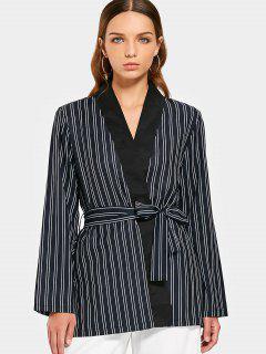 Long Sleeve Belted Stripes Blazer - Stripe L
