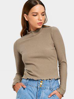 Ruffles Knitted Ribbed Top - Khaki S