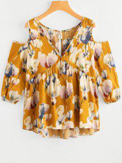Cold Shoulder Cut Out Floral Print Blouse - Ginger Xl