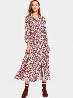 Flounces Floral Shirt Maxi Dress - Floral S