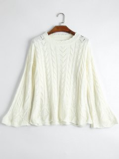 Crew Neck Cable Knit Sweater - Off-white