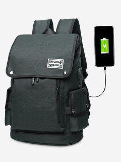Stud Usb Charging Port Side Pocket Backpack - Black