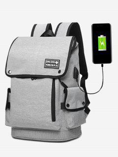 Stud Usb Charging Port Side Pocket Backpack - Gray
