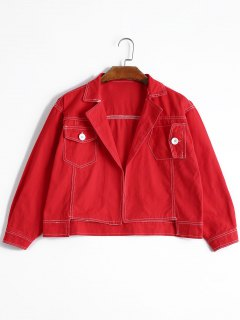 High Low Lapel Denim Jacket - Red M