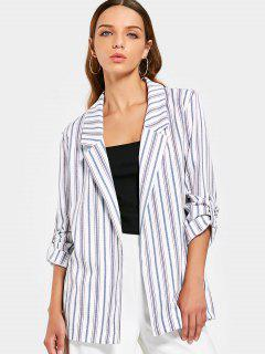 Buttoned Tabs Stripes Blazer - Stripe M