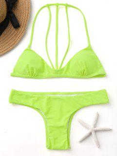 Fluorescence Color Straapy Bikini Set - Fluorescent Yellow S
