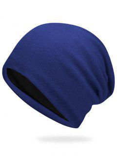 Plain Autumn Knit Hat - Color Blue