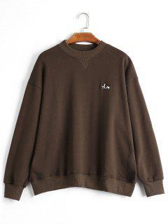 Drop Shoulder Embroidered Sweatshirt - Coffee