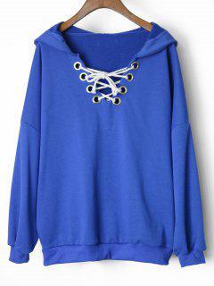 Oversized Drop Shoulder Lace Up Hoodie - Blue