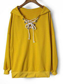 Oversized Drop Shoulder Lace Up Hoodie - Yellow