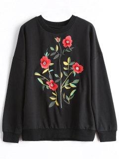 Drop Schulter Pullover Bestickte Sweatshirt - Schwarz S