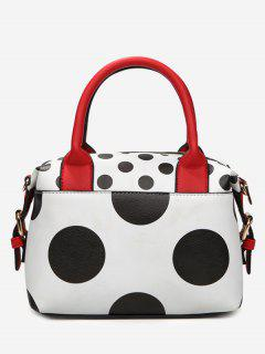 Faux Leather Polka Dot Totes - White