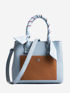 Color Block Ribbon Tote Bag - Blue