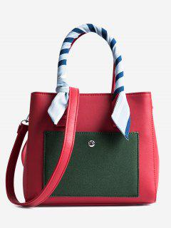 Color Block Ribbon Tote Bag - Red