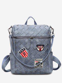 Badge Braided Backpack - Blue