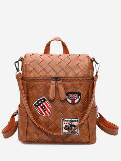 Badge Braided Backpack - Brown