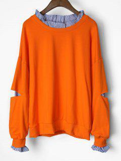Cutout Ruffles Stripes Panel Sweatshirt - Orangepink